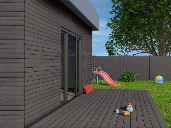 KAHRS WPC Rhombusleiste, 18x100 mm, Massiv, Anthrazit, strukturiert_1